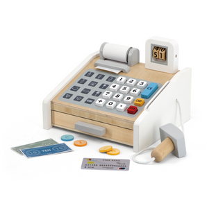 Children Mini Wooden Cashier Machine Toy