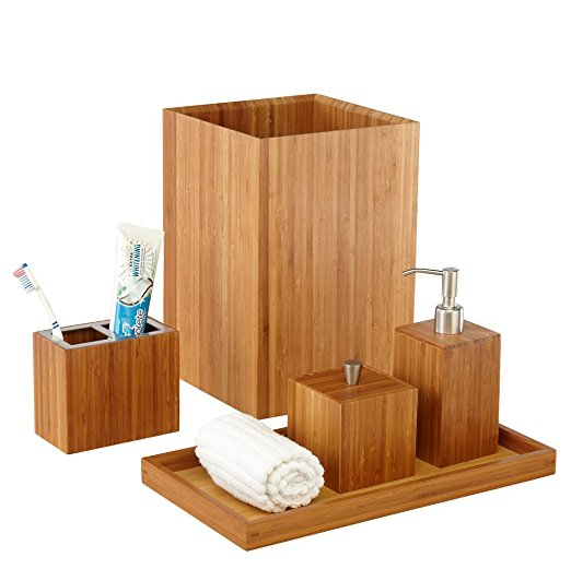 Custom Bamboo Bath Accessory Set