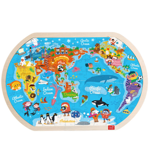 80Pcs World Map Educational Toy Interesting Wood Jigsaw Puzzles For Children