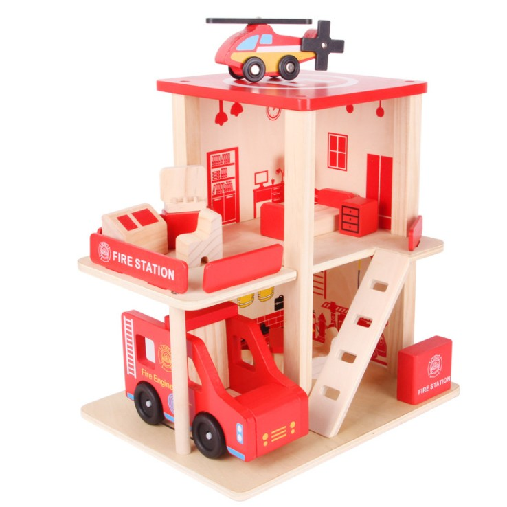 Wooden Fire Station Toy