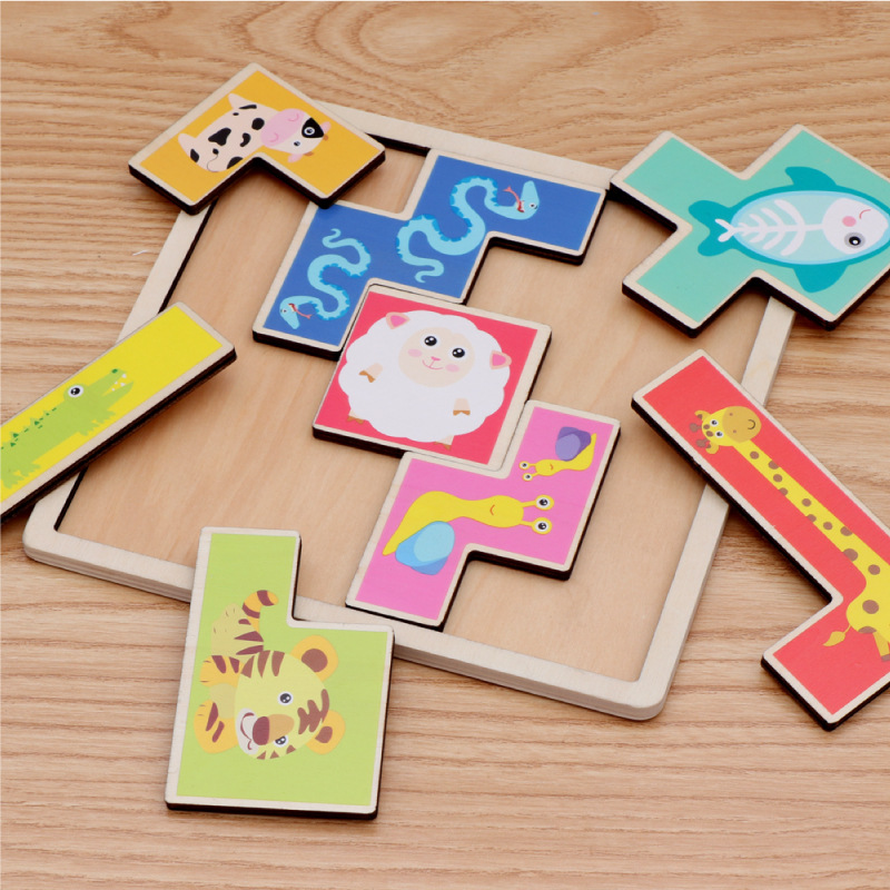 Wooden Kids Brain Animal Puzzle Board