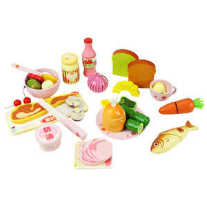 Western style dinner wooden food toys