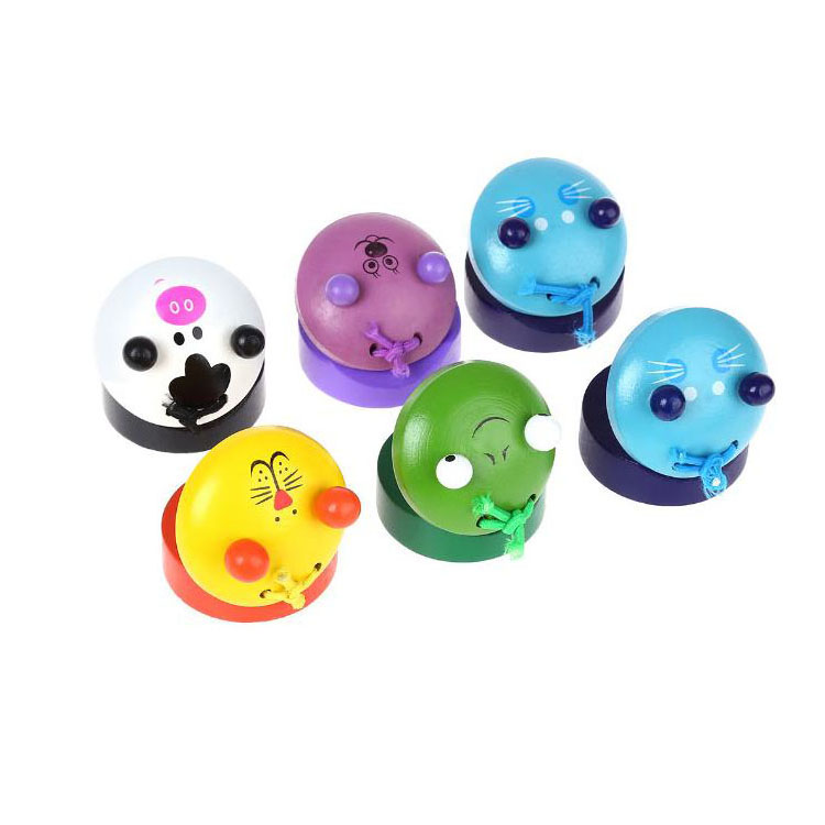 Kids Cartoon Colorful Animal Wooden Castanets