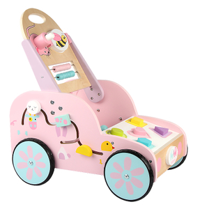 Pretend Play Wooden Baby Walker Rabbit Wooden Doll Pram
