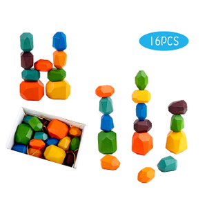 Educational Children Rainbow Stone Wooden Balancing Building Blocks Stacking Toys