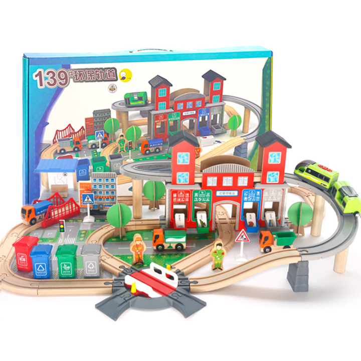 Wooden Train Set Track toys