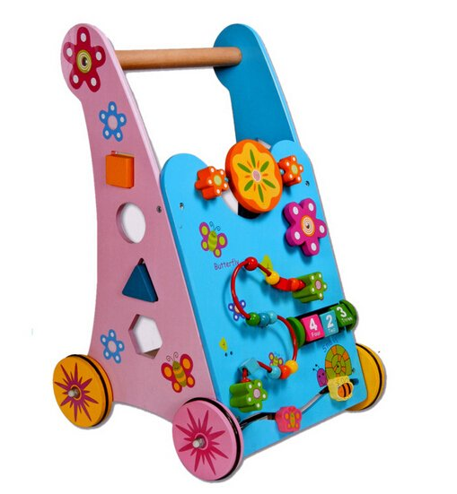 wooden baby walking trolley toy