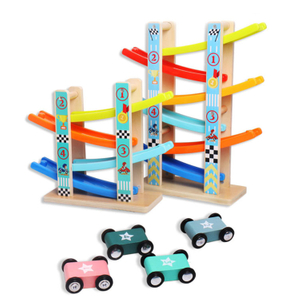 Wooden Track Toy Car Race Track Parking Garage Set gliding car