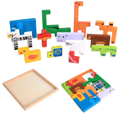 Wooden animal creative building blocks 3D wooden puzzle