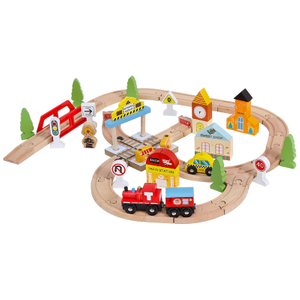 wooden railway train set toy
