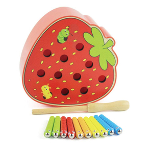Apple Shaped Catch Worm Game Toy