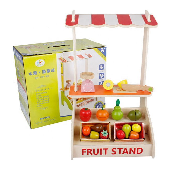 Wholesale Cosplay Kids Wooden Market Shop Pretend Play Combined Toys Vegetable Stall Cutting Toys