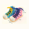 Wooden Practice Lace Up Tie Shoes
