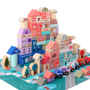 115 Pcs Kids Toys Wooden Toys City Traffic Scenes Geometric Shape Assembled Building Blocks