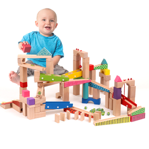 100pcs Wooden Marble Run Track Toy