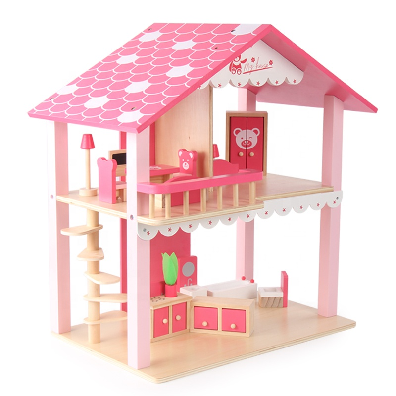 Wooden Role Play Pink Doll House